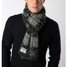Threadbare Knitted Cashew Scarf, Grey Marl and Black Striped Cable Knit