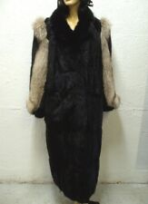 EXCELLENT BLACK MUSKRAT & FOX FUR COAT JACKET WOMEN WOMAN SIZE 14-16-18