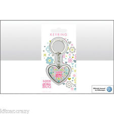 OFFICIAL VOLKSWAGEN LOVE BUG HEART SHAPED BEETLE KEYRING ,