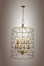 Uptown Steel Gold Circle Design Candle-Style Chandelier 12 Light Golden Cage