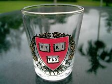 HARVARD RED AND  GOLD WITH  CREST SHIELD SHOT GLASS CLEARANCE PRICE