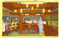 1932 Linen postcard - Interior Chinese Telephone Exchange, San Francisco, Calif.