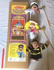Melissa & Doug 2530 PUPPET THEATER & 3 Puppet Lot Chef, Cowgirl, Firefighter NEW