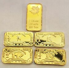 Awesome Set of 5 Assorted 1 Gram Ingots Finished in 999 Fine 24 Carat Gold (b)
