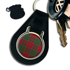 DRUMMOND  SCOTTISH CLAN TARTAN   LEATHER KEYRING / KEYFOB
