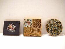 3 Vintage Powder Compact Cases Volupte Stratton & Tapestry 1940's - 1950's