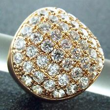 AN300 GENUINE REAL 18K ROSE GF GOLD LADIES CLASSIC DESIGN DIAMOND SIMULATED RING