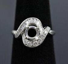 ART DECO 14K WHITE GOLD ROUND & BAGUETTE DIAMOND DESIGNER SIGNED SEMI-MOUNT RING