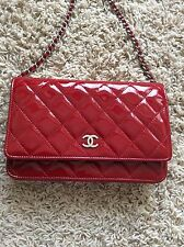 Chanel Red Patent Leather Quilted Classic WOC Wallet On a Chain bag France