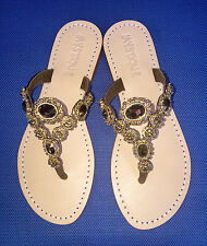 NEW 7 MYSTIQUE Jeweled Mirror Crystal Rhinestone Thong Sandals Bronze Flip Flops