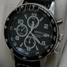 SEIKO MEN'S CHRONOGRAPH TACHY BLACK DIAL LEATHER SND729P1 NEW FREE UK POSTAGE