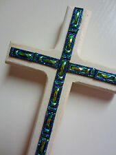 PEACOCK BLUE CROSS EASTER WOOD DECOR SIGN UNIQUE PLAQUE HANDCRAFTED