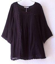 NEW~SOLITAIRE~Black Crochet Lace Peasant Blouse Shirt Boho Plus Top~18/16/XL/1X