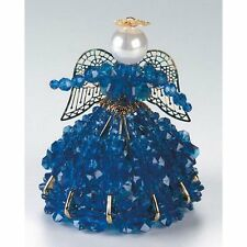 """Safety Pin and Bead Birthstone Angel Kit - SEPTEMBER  - SAPPHIRE BLUE 4"""" Tall"""