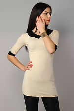 Women's Lovely Tunic with Collar & Cuffs Bodycon Mini Dress Size 8-12 8513