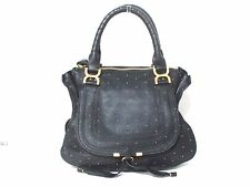 Authentic Chloe Black Gold Medium Marcie Leather Handbag