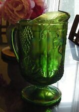 Indiana Glass Carnival Glass Green Grape Ice Lipped Large Pitcher WOW