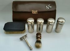 Vintage Leather Cased Men's Gent's Travel Vanity Grooming Set Ebony Brush Razor