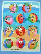 VINTAGE 1985 HALLMARK FUNNY BEACH BALLS 11 STICKERS 1 SHEET GLASSES HATS