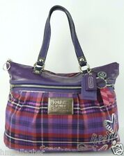 COACH Poppy Purple Tartan Plaid Tote Bag Purse #15886 ~ EXCELLENT!