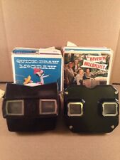 VINTAGE BLACK & BROWN BAKELITE SAWYER'S VIEW-MASTER VIEWER WITH 50 REELS