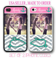 PERSONALIZED PHOTO MIX PINK CHEVRON Best Friends Cases FOR iPhone 6S 6 SE 5S 5C