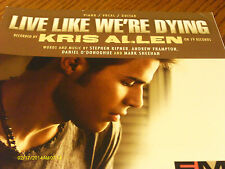 Kris Allen Live Like We're Dying 2008  Photo Sheet Music