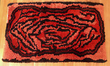 Vintage 1970's shag rya rug - Red black - Animal print  24 X 40 - Clean