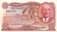Malawi 1 Kwacha ND. 1973  P 10a Prefix E circulated Banknote  G. M3