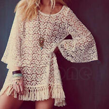 Women Hippie Boho Bell Sleeve Gypsy Sexy Lace mini Dress Festival Fringe Tops