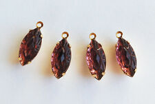 VINTAGE FANCY CUT GLASS NAVETTE MARQUIS PENDANT BEADS ART DECO AMETHYST • 15x7mm