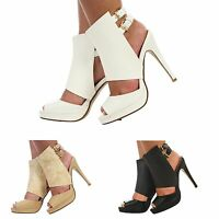 WOMENS LADIES PEEPTOE PLATFORM ANKLE STRAP STILETTO HIGH HEEL SHOES SIZE 3-8