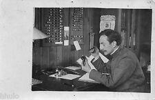 BK180 Carte Photo vintage card RPPC Homme bureau calendrier boite couteau poste