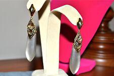 New $295 ALEXIS BITTAR Lucite Arrow Drop Earrings Crystals Warm Gray Grey