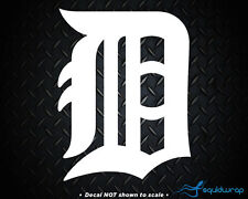 """Detroit Tigers D Old English Car Decal / Laptop Sticker - WHITE - 6.5"""""""