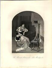 Stampa antica SAGGIO DI MUSICA e CORTEGGIAMENTO violino 1850 Old antique print
