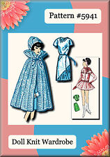 Knitted Cape, Hat & Diagonal Neck Dress Pattern #5941 Made For Vintage Barbie