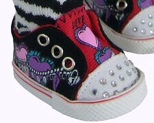 "BLING! Rhinestone Sneakers w/ Hearts & Chains for 18"" American Girl Doll Clothes"