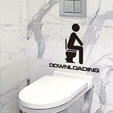 2Pcs Bathroom Toilet Seat DOWNLOADING Wall Sticker Decal Decor Reminder PVC