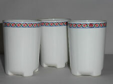 Mittal Fine Bone China Cups Lot 3 Footed Wht Blue Red Grn Trim Edging India EUC