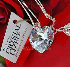 925 STERLING SILVER CHAIN NECKLACE SWAROVSKI ELEMENTS HEART CRYSTAL CAL 18mm