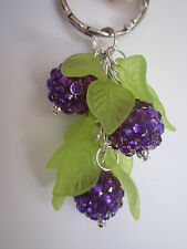 Silver tone Bag Charm / Keyring - Blackberry Bush - Purple Rhinestone