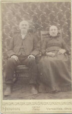 CABINET CARD PORTRAIT OF ELDERLY COUPLE IN ROCKING CHAIRS - VERSAILLES, OHIO