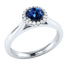 0.50 ct Blue Sapphire & 100% Certified Natural Diamond Engagement Ring Sizable