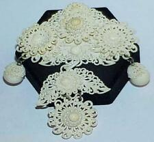 Victorian Celluloid Acorn Dangle 3 Tiered Brooch Pin Filigree Antique Lace