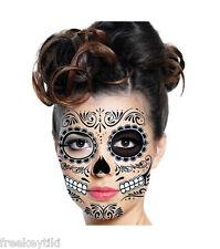 DAY OF THE DEAD Dia de los Muertos Black Face Mask Temporary Tattoo Sugar Skull