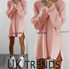 UK Womens Long Sleeve Pullover Sweater Ladies Side Zip Jumper Dress Size 6 - 16