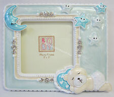 New Photo Frame with Blue Teddy Bear Moon & Stars Diamontes Great Baby Boy Gift