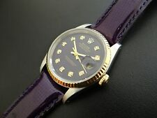 Stunning ROLEX Datejust Men's Watch~Rare Custom Purple Theme~Model 16233~WOW!