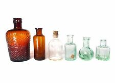 6 x ANTIQUE VINTAGE OLD CHEMIST APOTHECARY GLASS BOTTLES MEDICINE CURE